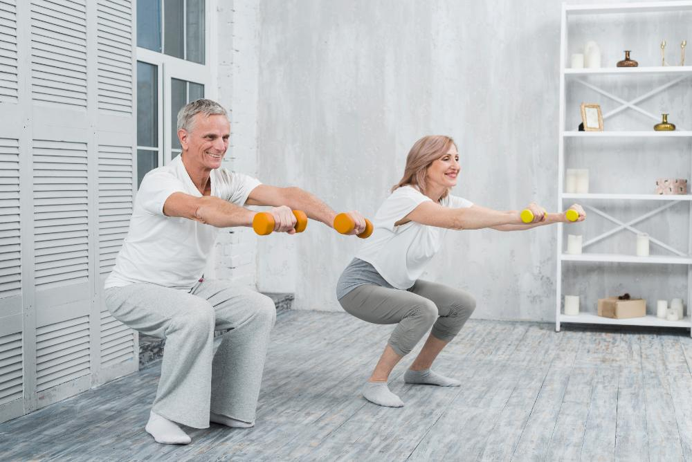 senior workout - chair squats