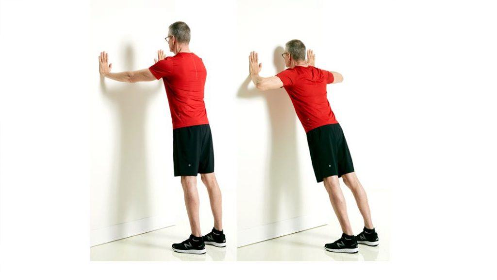 senior workout - wall push ups