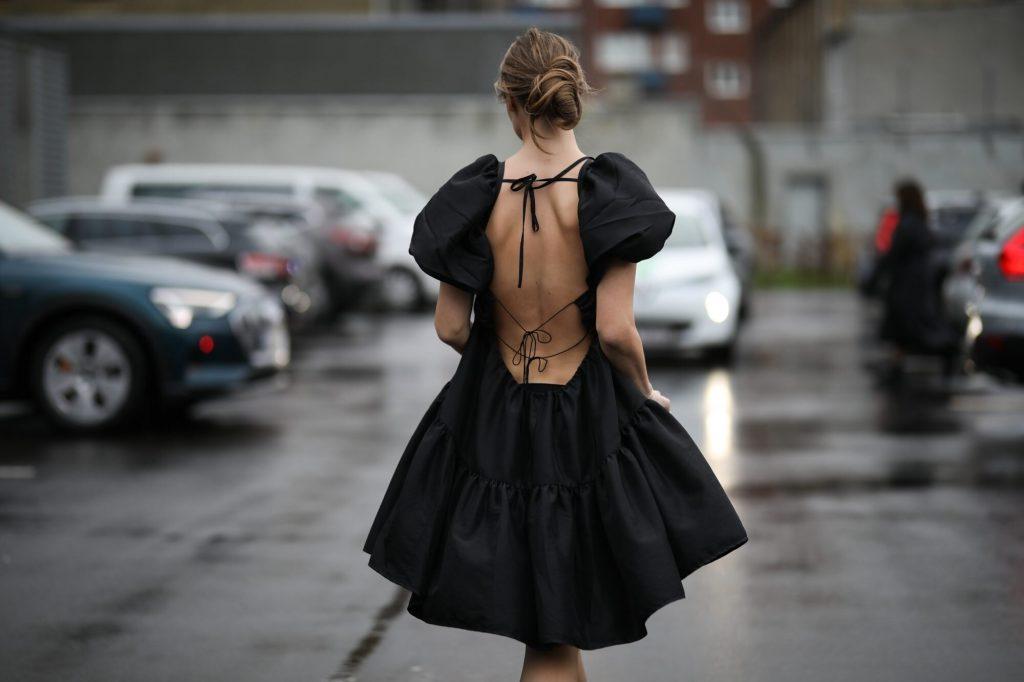 Black Backless Dress, Street Fashion